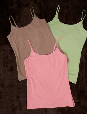 LADY HATHAWAY Women's (Lot of 3) Cami Tank Tops Built in Bra Adjustable Size M/M