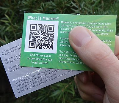 50 Info Cards which explain what Munzee is to friends, public, police etc