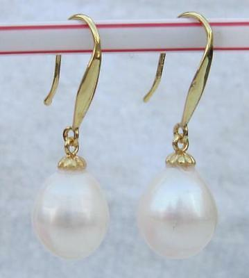 Huge Aaa 10-12Mm Natural South Sea White Pearl Earrings 14K Solid Gold