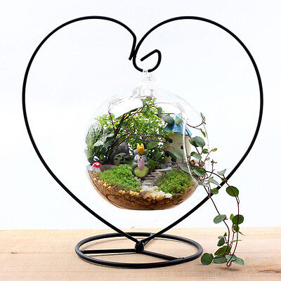 Heart-shaped Iron Hanging Plant Glass  Vase Terrarium Stand Holder