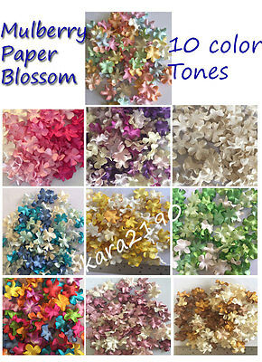 100 x Mulberry Paper Blossoms Flowers Embellishments Scrapbooking Cardmaking #A1