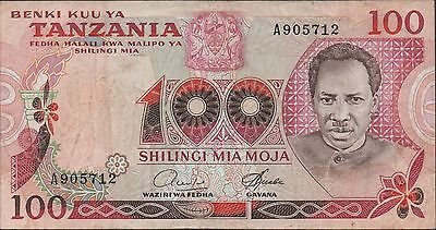Tanzania 100/-  ND.1966  P 8a  sign. 4  Prefix A better sign.Circulated Banknote