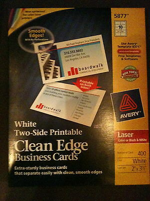 """Avery 5877 Laser Business Cards  2"""" X 3.5""""  Matte 400 Cards White Free Shipping"""