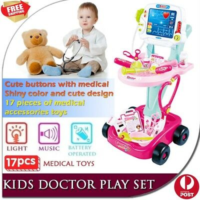 Kids Pretend Play Educational Doctor Cart Kit Medical Set Hospital Supplies PINK