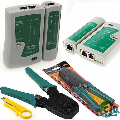 RJ45 Network LAN Cat5e Cat6 Ethernet Patch Cable Tester Cutter Crimping Tool Kit