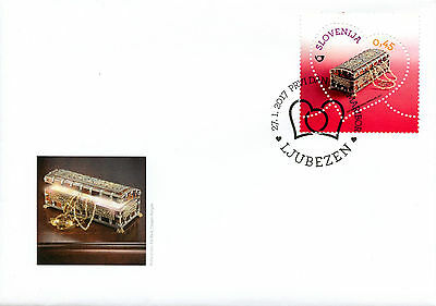Slovenia 2017 FDC Miniature Chest Greetings Love 1v Cover Heart Shaped Stamps