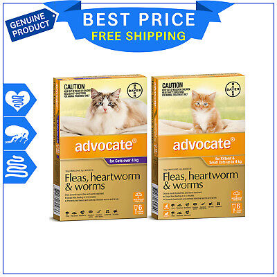 ADVOCATE for Cats Flea Heartworm Worm treatment 6 Pipettes + FREE 2 Pipettes