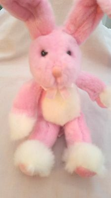 "Russ -Bendy -Pink Bunny Rabbit - 10"" Plush Soft Posable Toy - Lovely Condition"