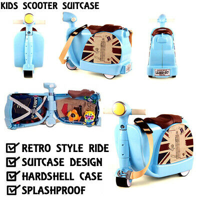 NEW 2017 Sky Blue Ride On Scooter Suitcase Toy Box Children Kids Luggage Carry