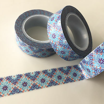 Washi Tape Blue Byzantine 15Mm X 10Mtr Planner Craft Scrap Wrap Mail Art