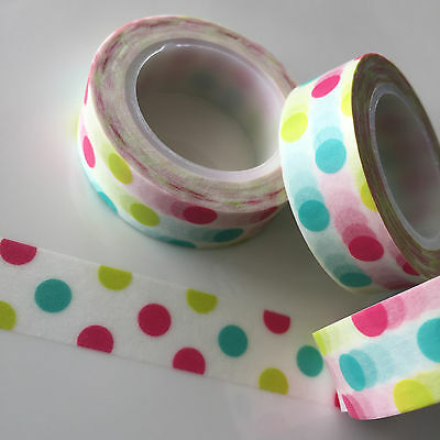 Washi Tape Pink Lime Mint Spots 15Mm X 10Mtr Roll Plan Craft Scrap Wrap