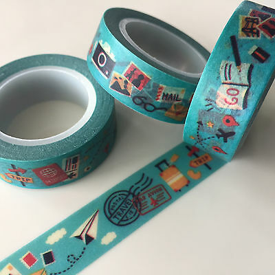 Washi Tape Lets Go Travel 15Mm X 10Mtr Roll Plan Craft Scrap Wrap