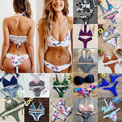 Womens Swimwear Bandage Push-Up Bikini Set Brazilian Triangle Swimsuit Beachwear