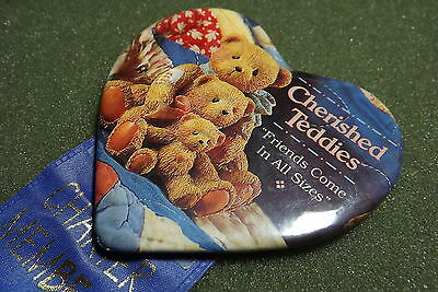 1995 Cherished Teddies Founders Day Charter Member Lapel Pin Button With Ribbon