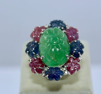 Antique Colombian Emerald Ruby Blue Sapphire Carved Gemstone Diamond Silver Ring