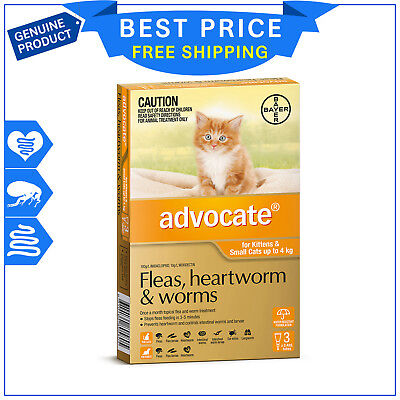 ADVOCATE for Cats Upto 4 Kg Orange Pack 3 Pipettes flea heartworm worm treatment