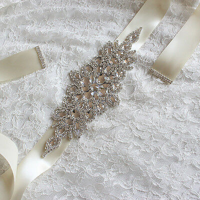 Handmade Crystals Diamond Rhinestone Bride Wedding Sash Belt FG