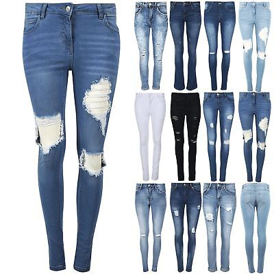 Womens Ripped Knee Cut Faded Slim Fit Ladies Skinny Denim Jeans UK Size S-XXL