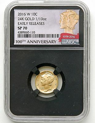 2016 W Gold Mercury Dime Ngc Sp70 - Early Release - Black Core