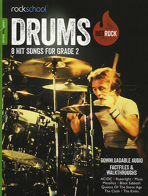 Rockschool Drums Hot Rock Grade 2 Music Book with Audio Access Exam Study