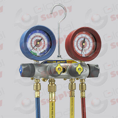 """Yellow Jacket 46013 – BRUTE II  Manifold, 60"""" Hoses w/ Ball Valve, R22/404A/410A"""