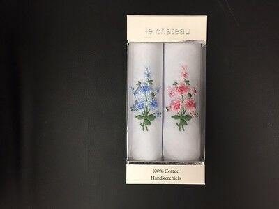Le Chateau Ladies Handkerchief - Box 2 - 100% Cotton - Floral  Blue/Pink