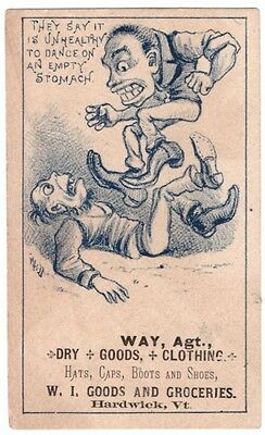 1880's Trade Card Hardwick Vermont WI Goods and Groceries Dancing on Stomach