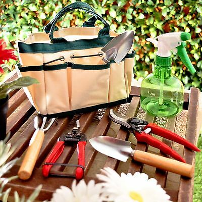 Garden Tool Set Gardening Kit Canvas Bag Mini Fork Trowel Secateurs Spray 7pc
