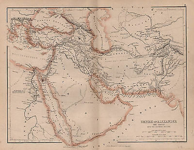 Map Of Empire Of Alexander The Great  1874 Antique original
