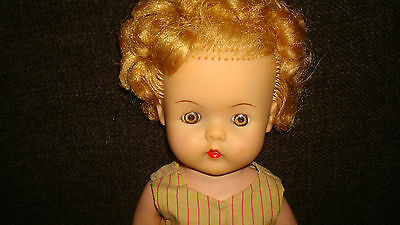 Vintage Stuffed Vinyl Baby Doll 1950's Rubber Curly Hair