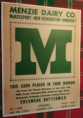 Old Menzie Dairy Window Card McKeesport Somerset New Kensington PA. Poster
