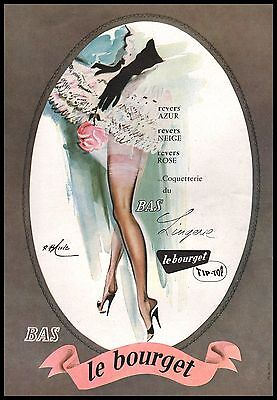 Original 1948 BAS LE BOURGET AD NYLONS STOCKINGS Vintage Print Advertising -2j