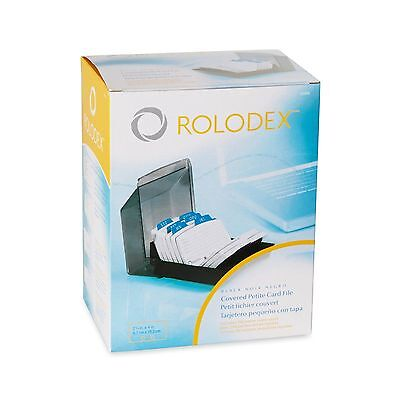 """Rolodex Petite Covered Tray Card File 250 2 1/4 x 4"""" Cards 9 Guides NIB 67093"""