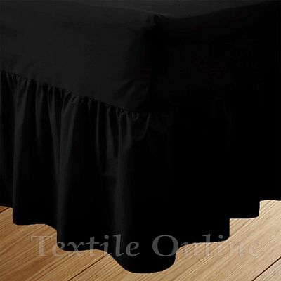 Plain Dyed Fitted Valance Sheet Poly-Cotton Bed Sheet (Black) Double Size