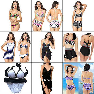 Swimwear Womens Triangle Bikini Set Bandage Push-Up Swimsuit Bathing Beachwear