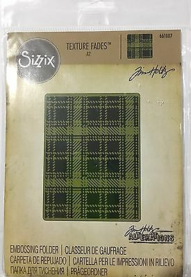 Tim Holtz Alterations Texture Fades Embossing Folder ~Plaid Code 661007