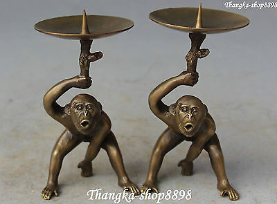 Chinese Fengshui Bronze Monkey Monkeys Candle Holder Candlestick Pair Statue