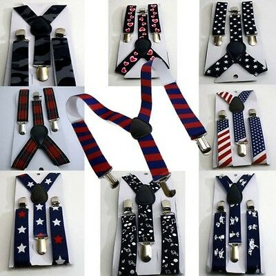 Children Suspenders with design ❤️ Stretch Y-shape Style Clips Narrow ab 3 Y
