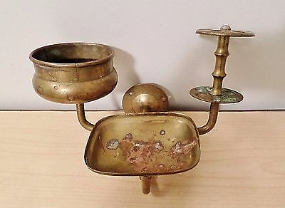 Vintage Brass Wall Mount Toothbrush Cup Glass Holder Soap Dish Original!