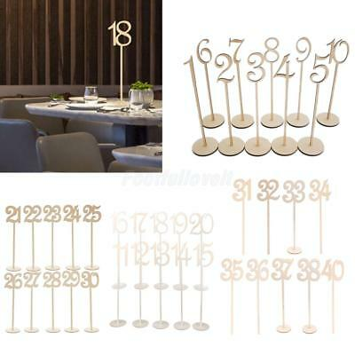 Wood Table Number w/ Sticks Stand Base Holder French Font Wedding Birthday Decor