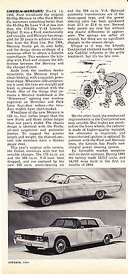 1965 Lincoln-Mercury  ~  Classic Original New Car Preview Article / Ad