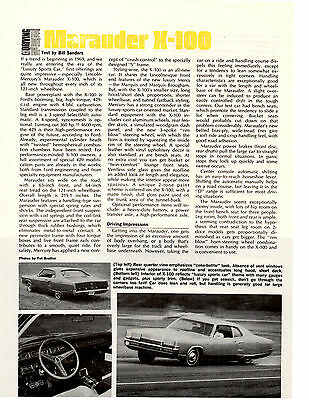 1969 Mercury Marauder X-100 ~ Original New Car Preview Article / Ad