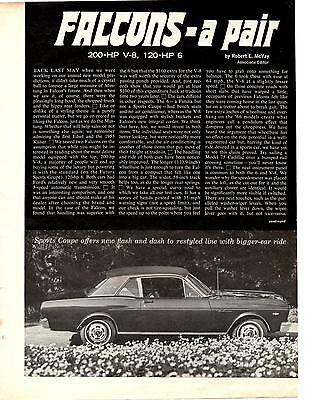 1966 Ford Falcon  200-Hp V-8 / 120-Hp 6 ~ Original 3-Pg Road Test / Article / Ad