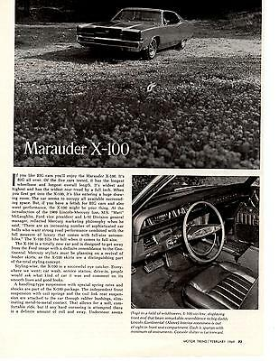 1969 Mercury Marauder 429  ~  Nice Original 2-Page Article / Ad