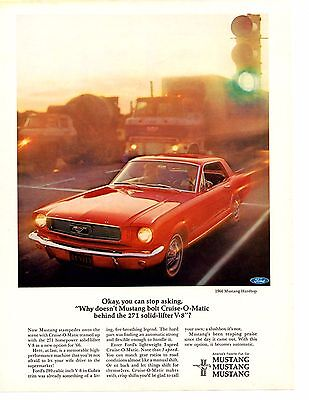 1966 Ford Mustang 271 Solid Lifter V-8 W/cruise-O-Matic  ~  Original Print Ad