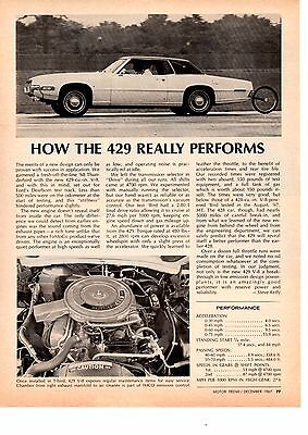 1968 Ford 429 Engine  ~  Original Single-Page Performance Article / Ad