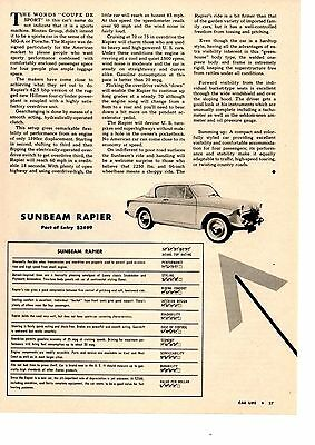 1956 Sunbeam Rapier  ~  Original Single-Page Article / Ad