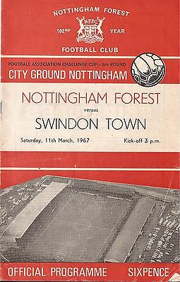 Football Programme - Nottingham Forest v Swindon Town - FA Cup - 1967