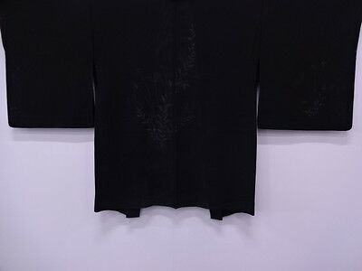 Vintage Japanese Kimono / Antique Haori For Summer / Leaves / Black