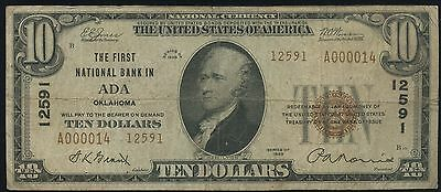 1929 T-1 $10 The First National Bank in Ada, Oklahoma #12591